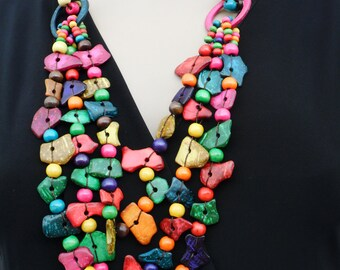indian wooden Bead Necklace Isolate colour hand made nacklace modern jewellery