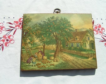 50s AUTUMN Fall Harvest Print on Wood Hanging with Brass Hanger