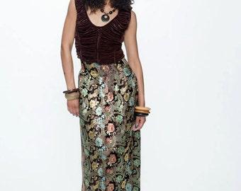 Custom brocade pleated skirt brown oriental paisley xs runway discount