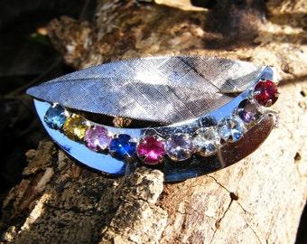 Sterling Silver Rainbow Rhinestone Leaf Brooch