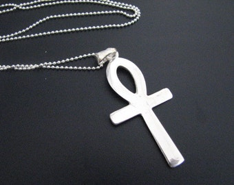 Original Classic Large Ankh Pendant Necklace Sterling Silver, Key of Life