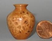 Maple Burl Turned Wood Miniature Vase
