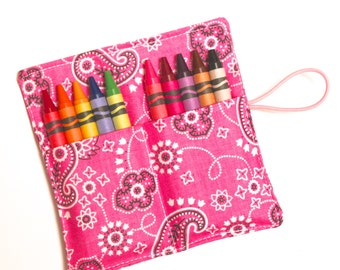 Crayon Roll Party Favors, Cowgirl Pink Bandana, Crayon Rollup, holds up to 10 Crayons, Birthday Party Favors