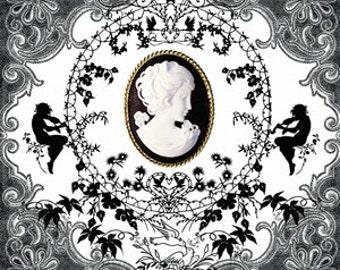 Cameo decoupage Napkins, angels, Decoupage, Mixed Media, Scrapbooking, Collage, black, white, shadow, 4 pcs