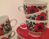 German Colditz Pottery Set of 6 Floral Tea/Coffee Cups and Saucers