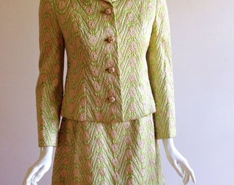 Vintage Malcolm Starr Lime Green Brocade Suit Dress