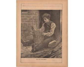 Antique Print 1890 Boy Weaving Basket Framable Art Book Page
