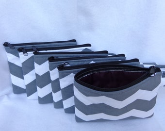 Makeup Bag: Combo Six (Ideal for Bridesmaid gift) Gray Chevron w/ Dark Plum