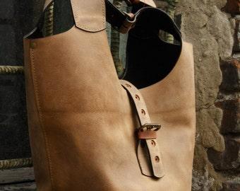 BROWN LEATHER BAG shoulder bag ladybuq art design