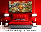 Impasto abstract painting, Original Modern Abstract, Large 24x48 heavy texture, home or office, HesterPainting by Don Hester