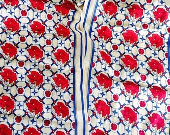 Vintage DEMARO Silk Floral Scarf with Burgundy-Red, Blue and Beige Colours