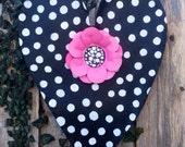 Valentines Day Door, Spring Door Hanger, Screen Door Hanger, Black and White Polka Dot Heart with Pink Flower Door Hanger, Wreath