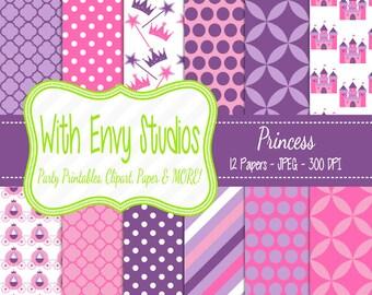 50% OFF Princess Scrapbook Paper - Princess Digital Paper - Princess Paper Pack - Pink Paper - Purple Paper - Commercial Use