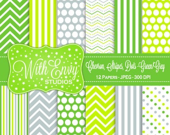 SALE Green and Grey Digital Paper - Green and Gray Scrapbook Paper - Chevron Digital Paper - Polka Dot Paper - Commercial Use OK