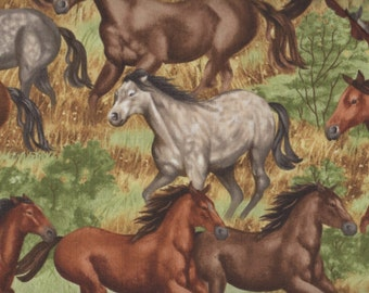 Horse, Horses by Timeless Treasures, Horse Fabric, Western Fabric, Running Horse Fabric, 1 yard fabric, 05122
