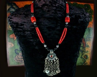 Coral Multi-Strand Necklace, Moroccan Coin Necklace, Coin Pendant Necklace, African Jewelry, Ethnic Jewelry, Turkoman, Dangle Necklace, Red