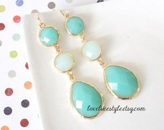 Two tone of Aqua Mint Stone Tear Drop Earrings, Bridal Earrings, Bridesmaid Earrings, Tear Drop Earrings