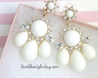 Ivory Stone Chandelier Post Earrings, Bridal Ivory Earrings, Bridesmaid Ivory  Eearrings.