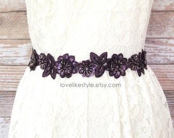 Plum, Dark Purple  Beaded Lace Sash, Plum  Lace Headband ,  Bridal Headband, Bridesmaid Sash, Flower Girl Sash /SH08