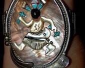 Stunning Vintage Zuni Augustine & Rosalie Pinto Turquoise Apache Dancer Bracelet - Hallmarked