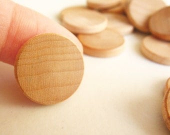 "75 Unfinished Wooden Circles 3/4"" -Small Wooden Circles -Wooden Circles Supplies -Natural Wood Circles -Wood Circles Beads"