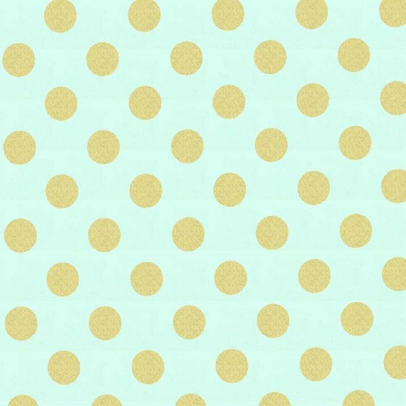 Metallic Gold Dot Fabric Metallic Gold Dot Fabric Mist