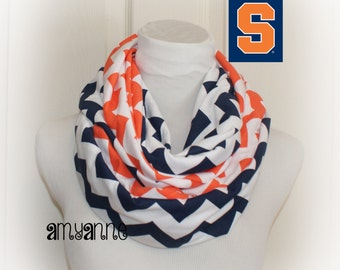 Navy Blue and Orange Chevron Jersey Knit 2 Pair School Team Colors Infinity Scarf Scarves Clemson Syracuse Virginia  Amy Anne