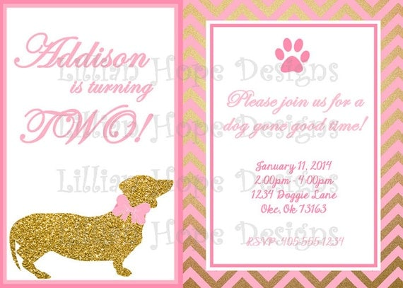 Dog Birthday Invitation Puppy Party Pink and Gold – Puppy Dog Birthday Invitations