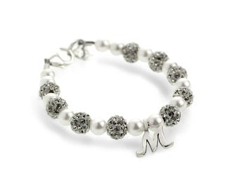 White Pearls With Pave Crystal Sparkling Beads and Sterling Silver Script Initial Beaded Bracelet (BSHWI)