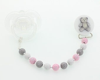 Gray Bear  Pacifier clip with Pink and Gray and White  Beads (CPGTP) (MSRP 24.00)