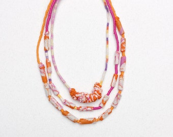 Textile multi strand summer necklace, statement fiber jewelry with bamboo beads, orange white pink, OOAK