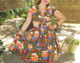 Tiki Flamingo Playsuit Sunset Tropical Hawaiian Luau PinUp Rockabilly Retro Tiki Oasis Fantastically Fun and Flirty