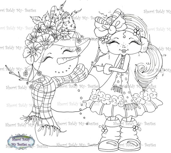 INSTANT DOWNLOAD Digital Digi Stamps Big Eye Big Head Dolls Digi  Snow Girl Pretty Winter By Sherri Baldy