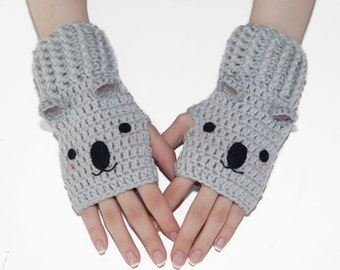 Crochet Gloves-Animal Gloves-Koala Fingerless Gloves-Mittens-Wrist Warmers-Kawaii-Fingerless Gloves-Grey