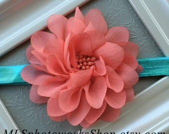 Light Coral Pink Flower Blossom Baby Headband