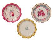 12 Vintage Tea Party Paper Plates