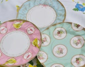 12 Vintage Dots and Bows Cute Party Paper Plates