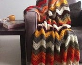 Chevron blanket - Falling for multicolor autumn crochet afghan throw -> made to order