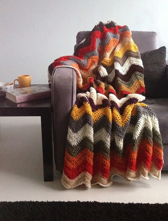 Chevron blanket - Falling for multicolor autumn crochet afghan throw