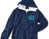 Navy Monogrammed Personalized Half Zip Rain Jacket Pullover by Charles River Apparel