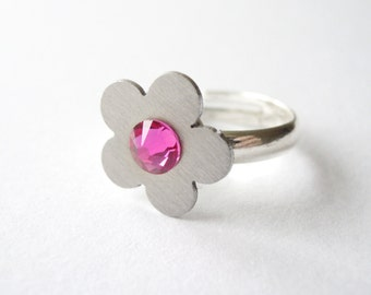 SILVER FLOWER RING with pink Swarovski crystals, steel dainty jewellery