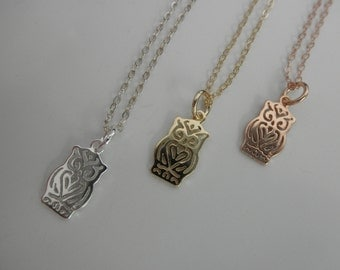 Owl necklace on sterling silver, gold and rose gold