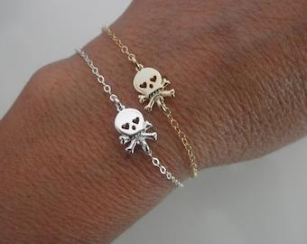 Skull bracelet with heart eyes - silver skull bracelet - gold skull bracelet - sugar skull charm