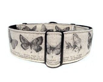 Vintage Butterflies Dog Collar - Adjustable 1.5-inch Linen Antique Graphic Butterfly Buckle Colar or Martingale Dog Collar