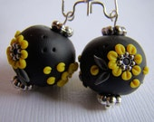 Earrings, Dangle, Yellow, Black, Flowers, Polymer Clay Beads, For Her