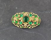Filigree Detailed Vintage Green Rhinestone Brooch