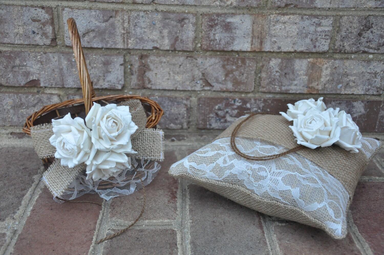 SET OF Ring Bearer Pillow & Flower Girl Basket Rustic