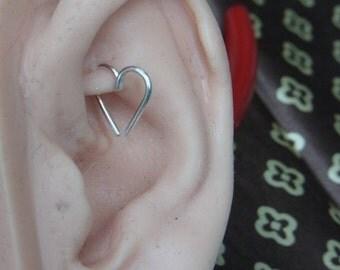 20 gauge Love Heart Cartilage / Rook / daith / Tragus / Snug / Helix / Forward Helix earring - 1pc
