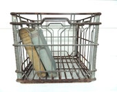 Vintage Milk Crate Metal Industrial Retro