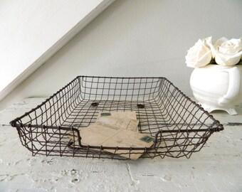 Vintage Metal Wire File Tray Basket